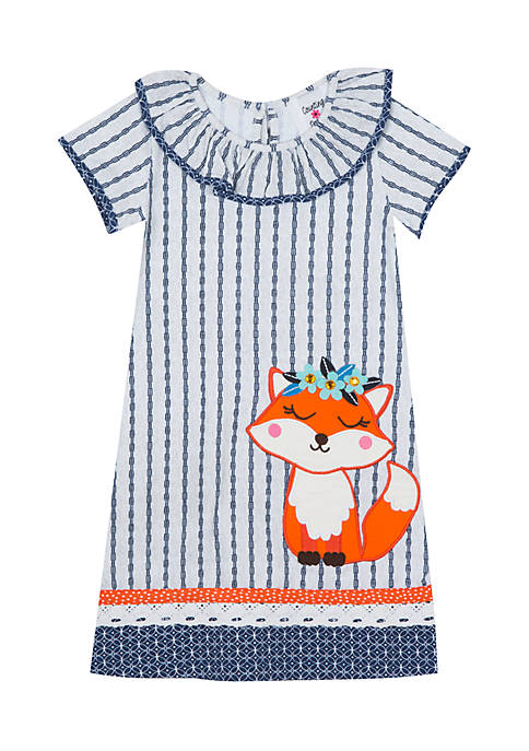 Rare Editions Toddler Girls Mix Print Fox Applique