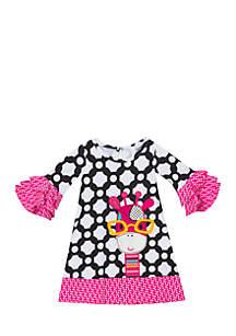 Toddler Girls Tile Print Giraffe Applique Dress