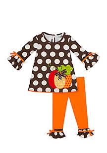Toddler Girls Knit Set with Pumpkin Applique