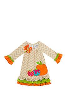 Toddler Girls Harvest Chevron Pumpkin Dress