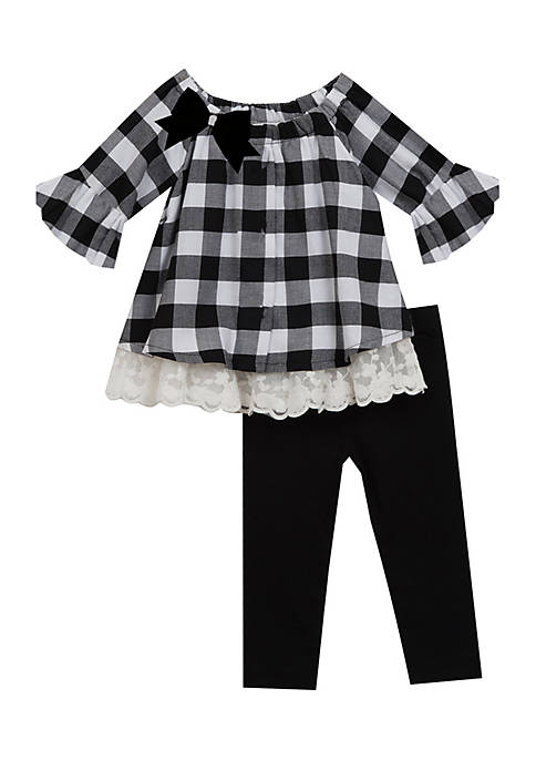 Rare Editions Toddler Girls Black and White Buffalo