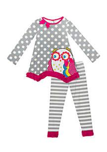 Toddler Girls Gray Polka Dot Owl Set