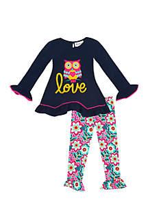 Toddler Girls Applique Owl Love Set