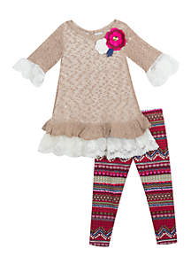 Toddler Girls Taupe Sweater Aztec Legging Set