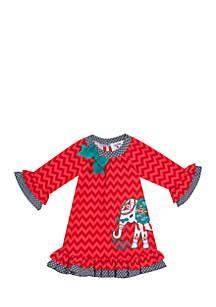 Toddler Girls Elephant Applique Chevron Dress