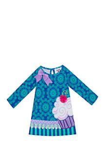 Toddler Girls Cupcake Applique Dress