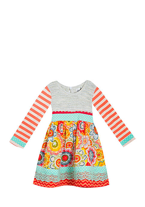 Rare Editions Toddler Girls Peach Mixed Print Sweater