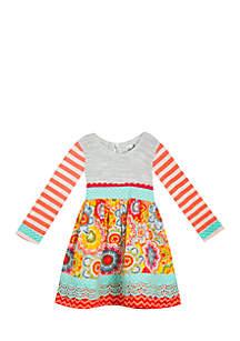 Toddler Girls Peach Mixed Print Sweater Dress