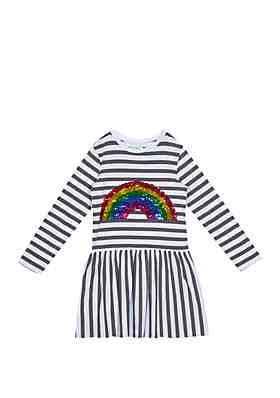 668636d169 Rare Editions Toddler Girls Sequin Rainbow Stripe Dress ...