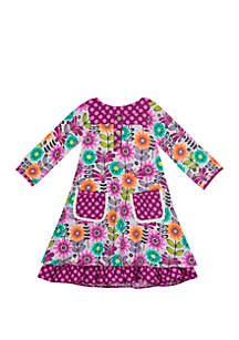 Rare Editions Toddler Girls Floral Printed A Line Dress