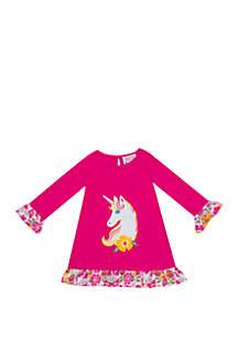 Rare Editions Toddler Girls 3/4 Sleeve Unicorn Tee