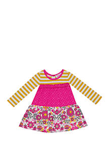 Rare Editions Toddler Girls Mixed Media Tiered Tee