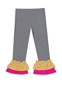 Rare Editions Toddler Girls Mixed Media Dot Double Ruffle Pants