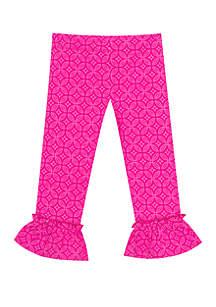 Rare Editions Toddler Girls Tile Pattern Large Ruffle Pants