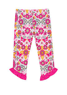 Rare Editions Toddler Girls Floral Single Ruffle Pants