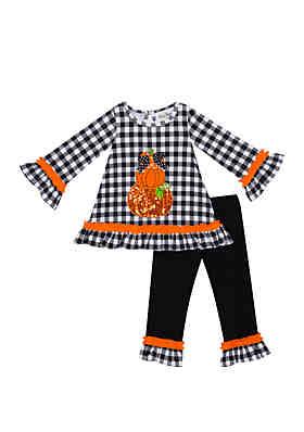 d70989cbb Rare Editions Toddler Girls Black White Check Trio Pumpkin Set ...