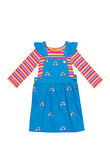 Rare Editions Toddler Girls Rainbow Jumper Dress Set