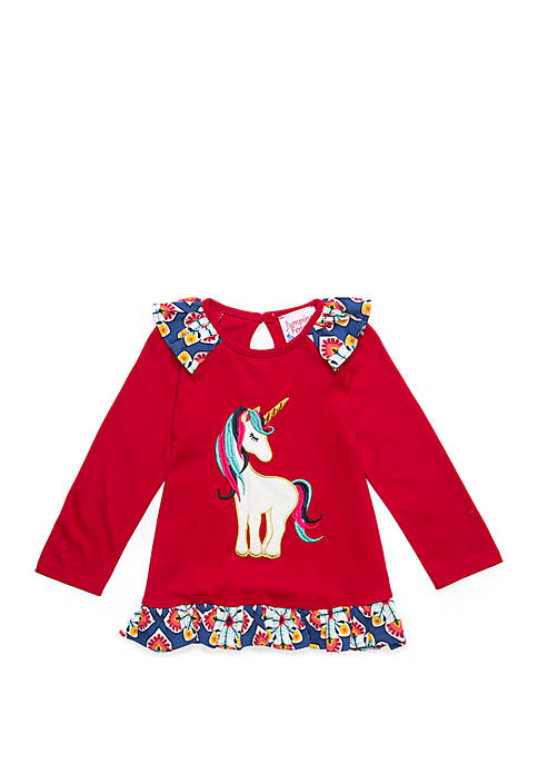 Rare Editions Toddler Girls Long Sleeve Unicorn T