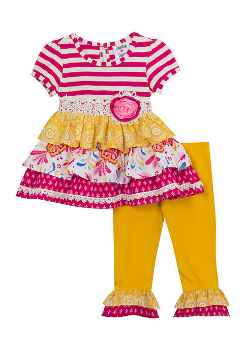 Rare Editions Toddler Girls 2 Piece Short Sleeve