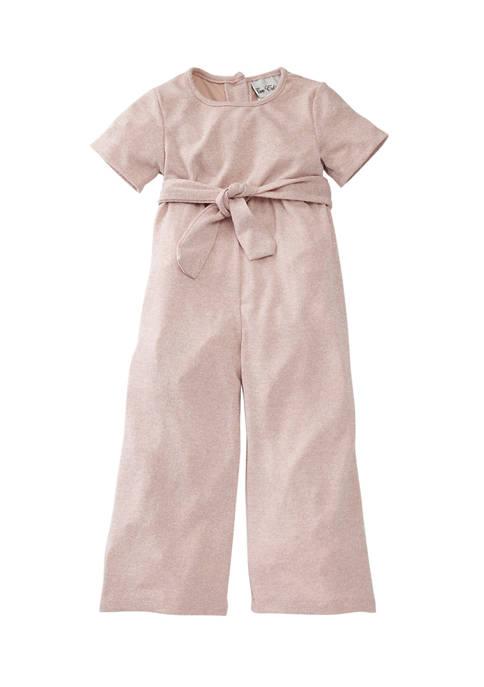 Toddler Girls Short Sleeve Tie Jumpsuit