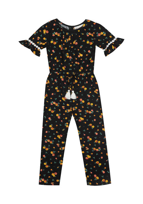 Rare Editions Toddler Girls Short Sleeve Printed Jumpsuit