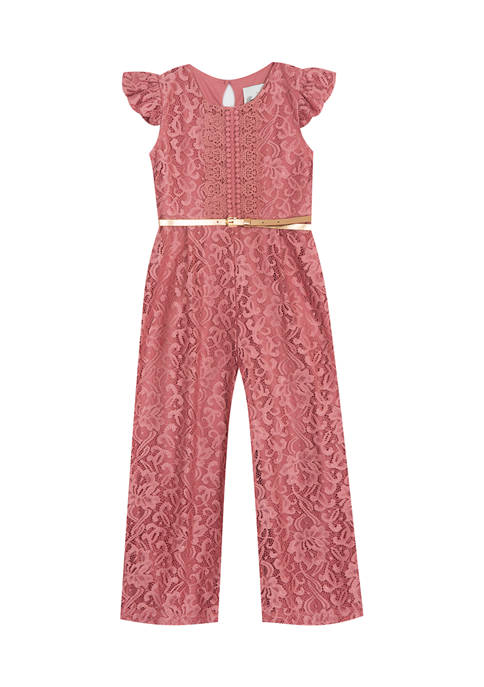 Rare Editions Toddler Girls Lace Jumpsuit with Belt