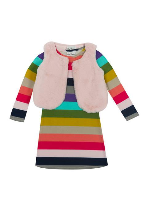 Rare Editions Toddler Girls Furry Vest Stripe Dress