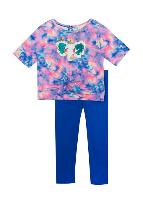Rare Editions Toddler Girls Elephant Graphic Twist Front