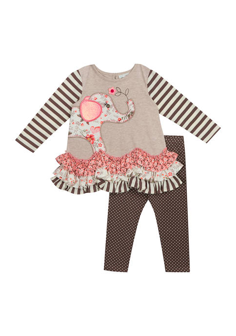 Toddler Girls Elephant Tiered Top with Leggings Set