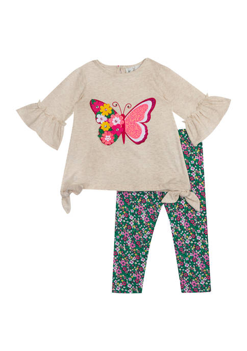 Rare Editions Toddler Girls Bell Sleeve Butterfly Graphic