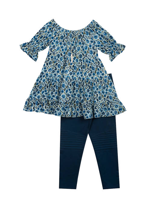 Rare Editions Toddler Girls Floral Babydoll Top and