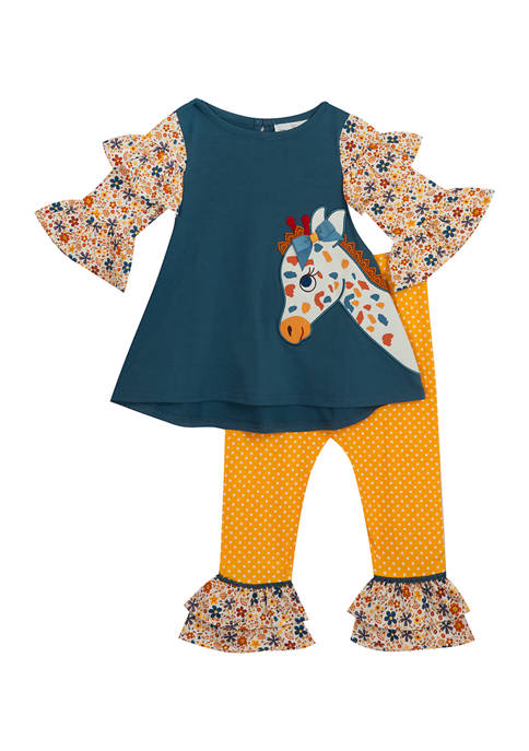 Toddler Girls Giraffe Ruffle Top with Leggings Set