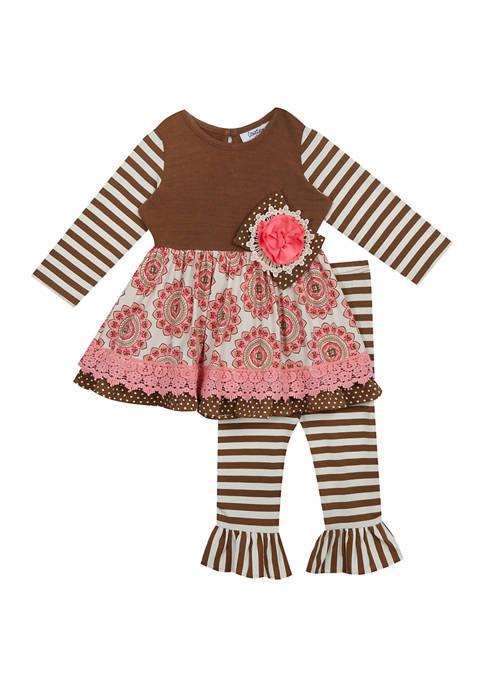 Toddler Girls Tiered Medallion Leggings - 2 Piece Set