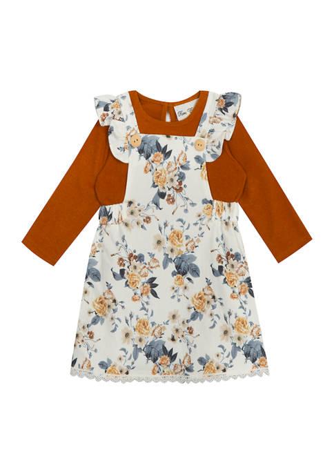 Toddler Girls Long Sleeve Floral Jumper Dress