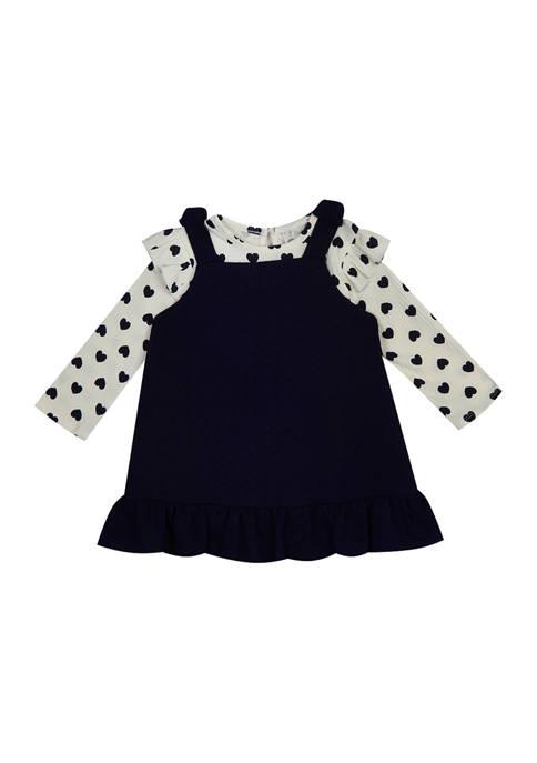 Toddler Girls Long Sleeve Ruffle Polka Dot Dress