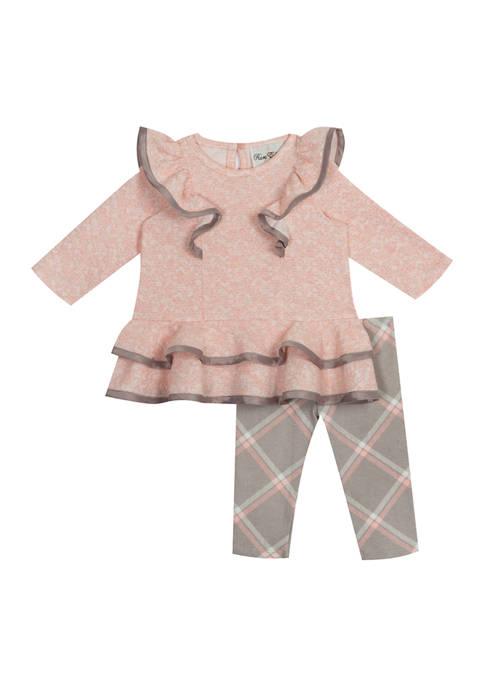 Toddler Girls Shoulder Ruffle Top and Plaid Leggings - 2 Piece Set