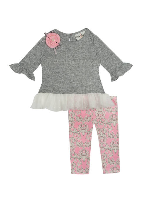 Rare Editions Toddler Girls Ruffle Gray Top and
