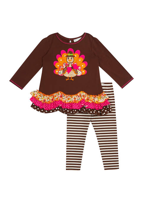 Toddler Girls Knit Top with Tiers & Striped Leggings - 2 Piece Set