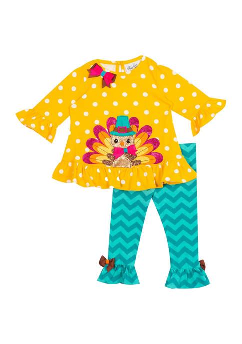 Toddler Girls Turkey Top and Leggings 2 Piece Set