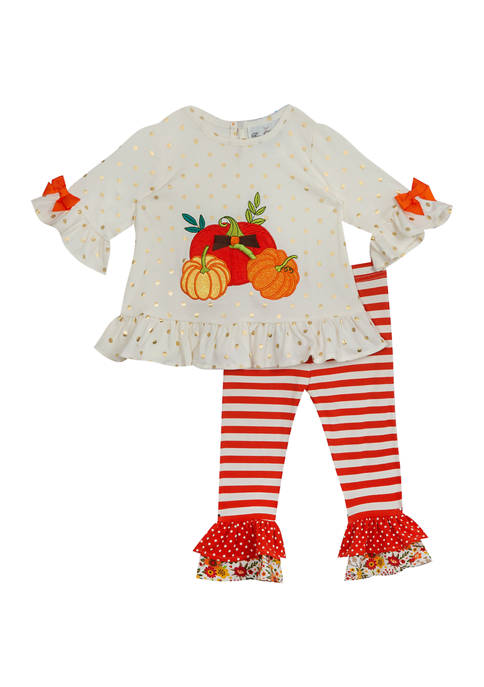 Toddler Girls Knit Top with Gold Foil and Ruffle Leggings 2 Piece Set