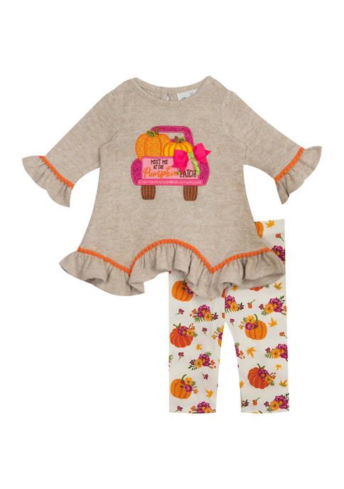 Toddler Girls Hacci Knit Top & Floral Leggings 2 Piece Set