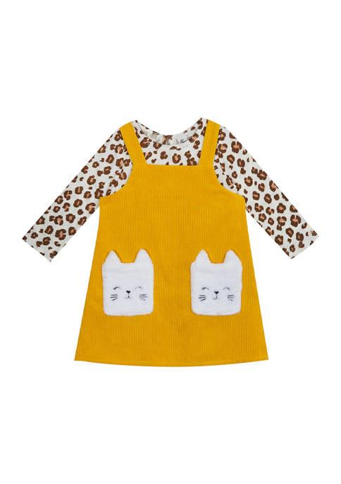 Toddler Girls Long Sleeve Cheetah Print Jumper Dress