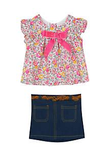 Infant Girls 2-Piece Bow Top Skirt Set