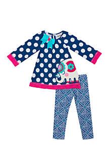 Infant Girls Two-Piece Navy Dot Elephant Set