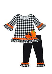 Infant Girls Black-White Checkered Legging with Pumpkins Set