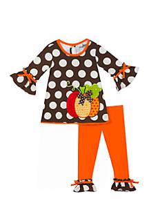 Infant Girls Legging with Pumpkin Applique Set
