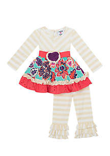 Infant Girls Two-Piece Oatmeal Floral Set