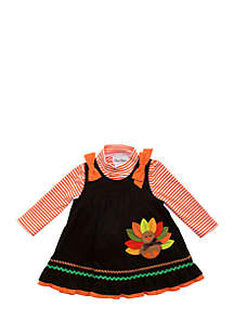 Infant Girls Brown/Orange Stripe Turkey Applique Corduroy Jumper