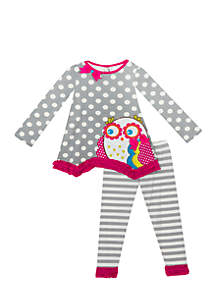 Infant Girls Gray Owl Dot Set