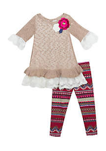 Infant Girls Taupe Sweater Knit with Lace to Aztec Stripe Legging Set